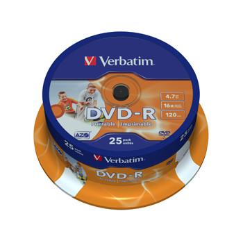 Verbatim DVD-R 16x 4,7GB printable spindle (25)