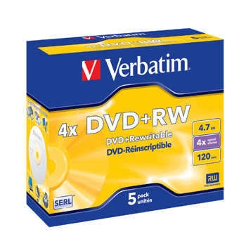 Verbatim DVD+RW 4.7GB 4x Jewel Case (5)