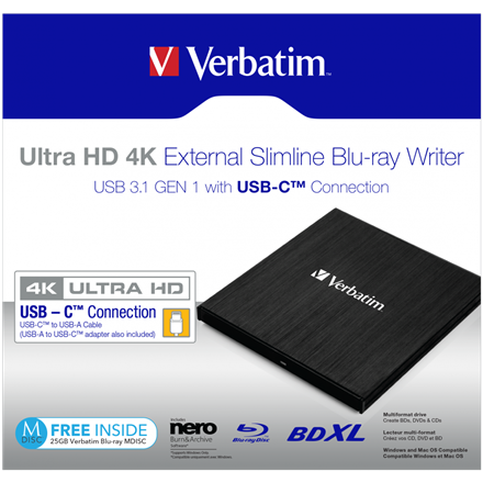 Verbatim External Ultra Hd 4K External Slimline Blu-Ray Writer USB 3.