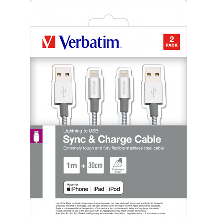 Verbatim Lightning Cable Sync & Charge 100Cm Silver + Lightning Cable
