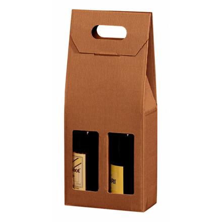 Vinemballage brun gaveæske til 2 flasker 75 cl - 20 stk i pakningen