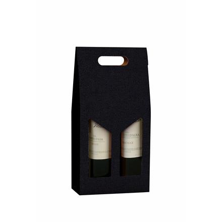 Vinemballage sort gaveæske til 2 flasker 75 cl - 20 stk. i pakningen