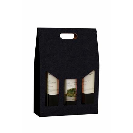 Vinemballage sort gaveæske til 3 flasker 75 cl - 20 stk. i en pakning
