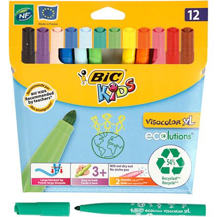 Visacolor XL tusser stregtykkelse: 3 mm - Pakke med 12 stk farver
