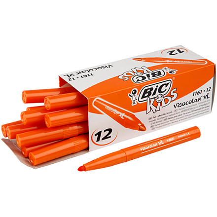 Visa Color tusch, stregtykkelse: 3 mm, mellem orange, 12stk.
