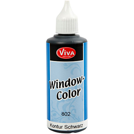 Viva Decor Window Color - konturfarve, sort, 80ml