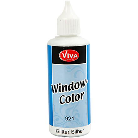 Viva Decor Window Color, sølv glitter, 80ml