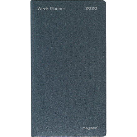 Weekplanner vinyl mørk grå 9,5x17cm højformat 20 0880 00