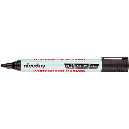 Whiteboardpenne - niceday 1639425 sort 1,5 mm rund spids