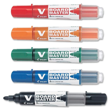 Pilot V Board Master penne sæt - med 5 penne ass. rund spids 2,3 mm