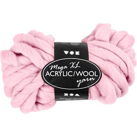 XL kæmpegarn af akryl/uld længde 15 meter rosa mega - 300 gram