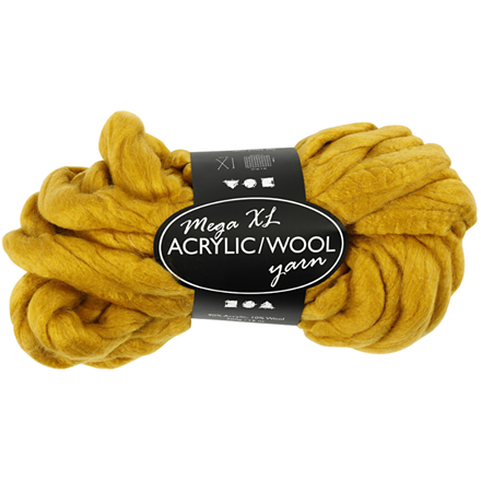 XL kæmpegarn af akryl/uld længde 15 meter mørk gul mega - 300 gram