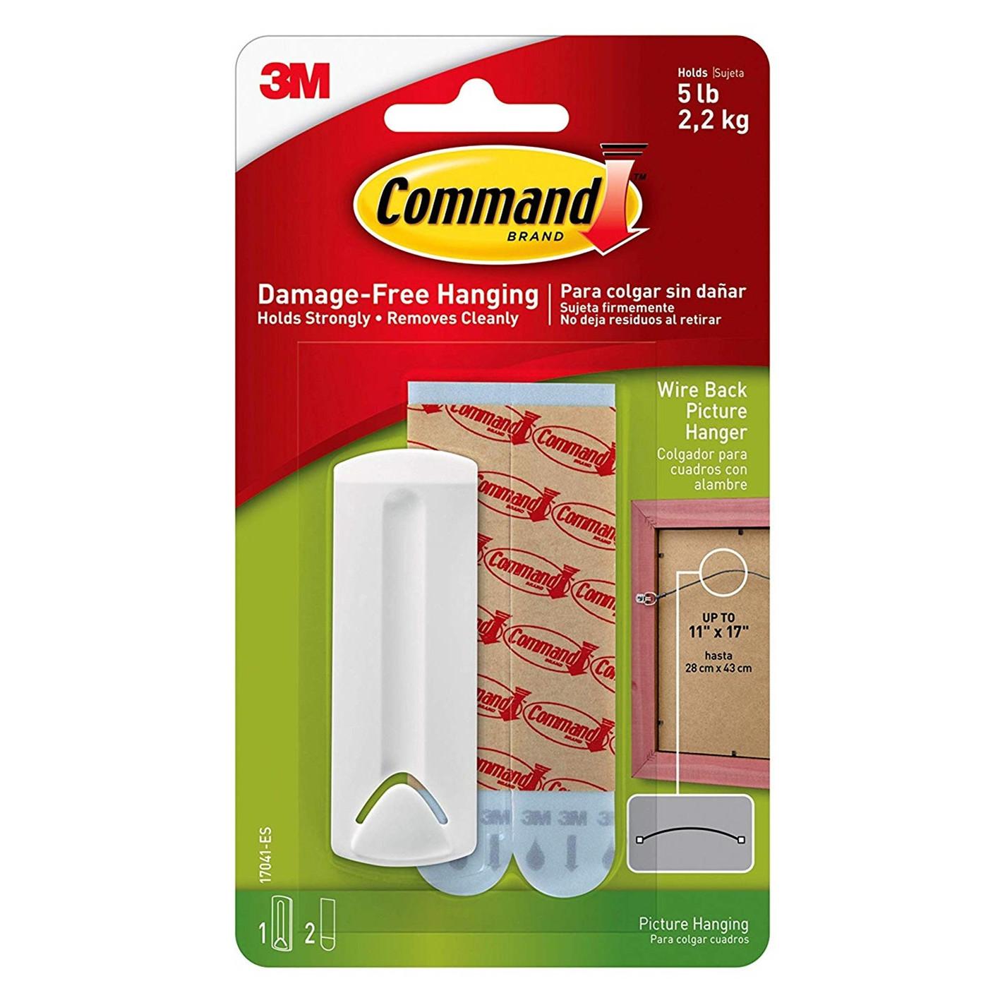 3M Command billedophæng til wire, hvid, 1 ophæng + 2 vandbestan