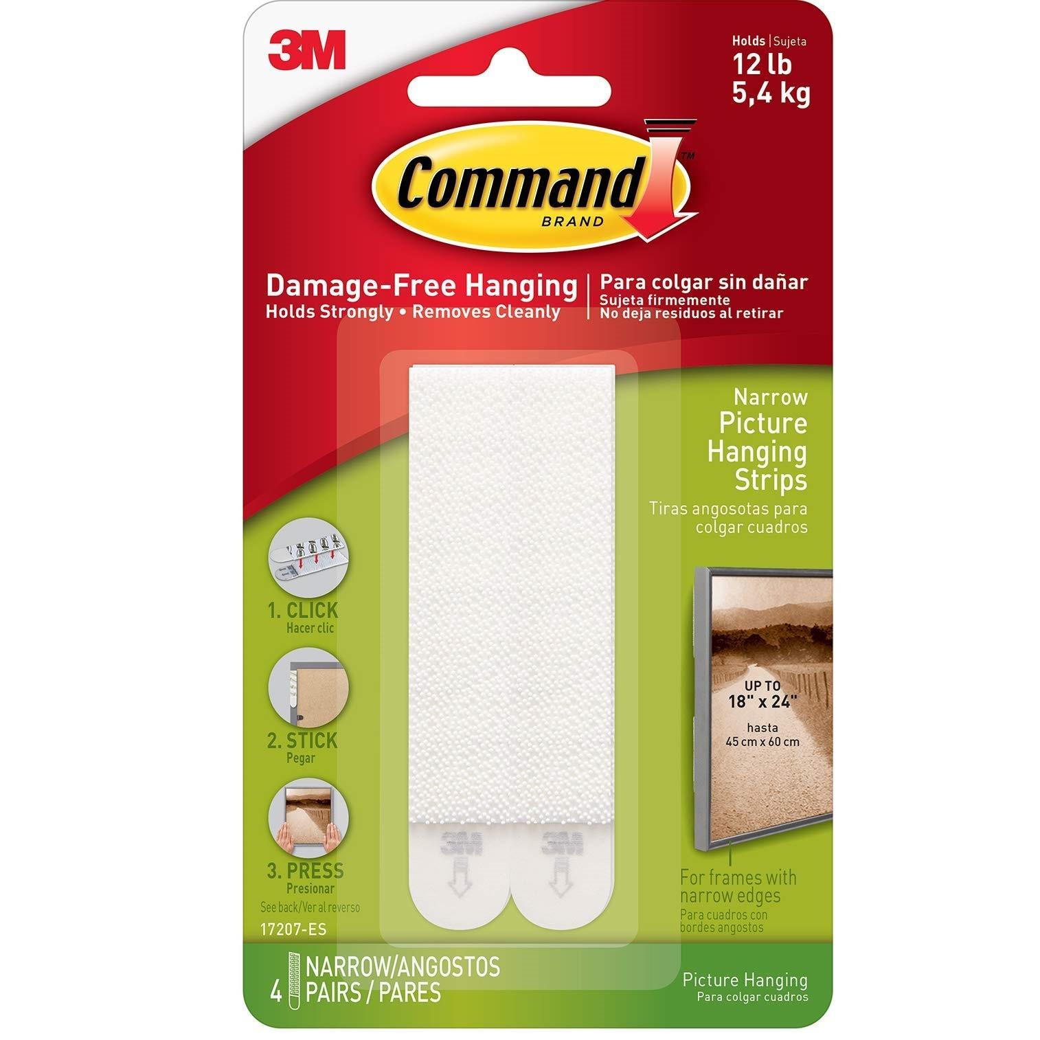 3M Command smalle strips til billedophæng, hvid, 4 x 2 strips,