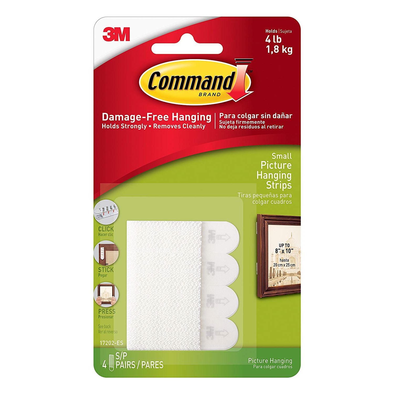 3M Command strips til billedophæng, hvid, 4 x 2 små strips, 1,8