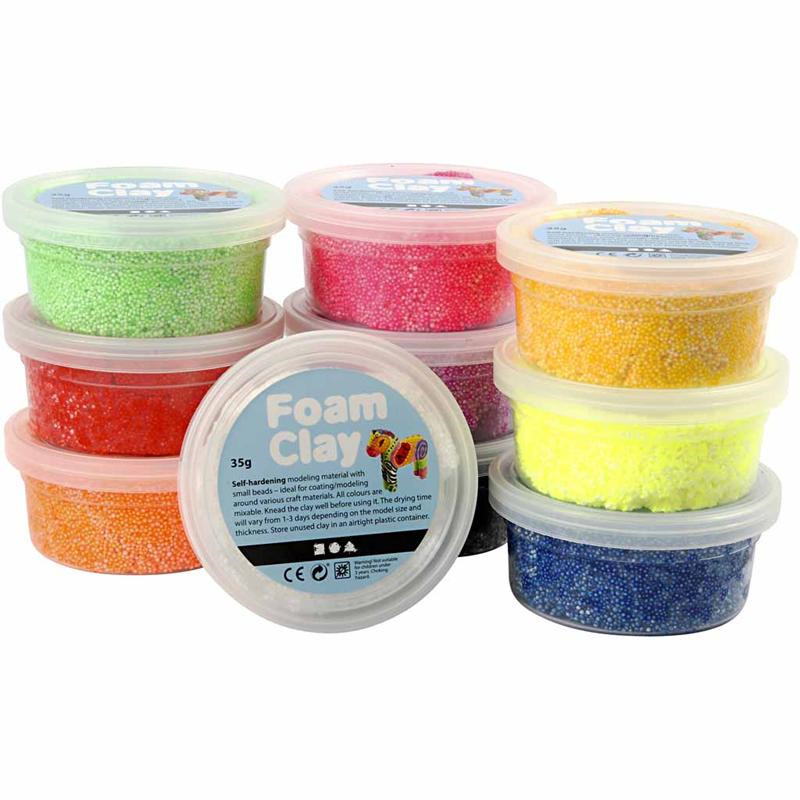Foam Clay®  assorteret farver basis   10 x 35 gram