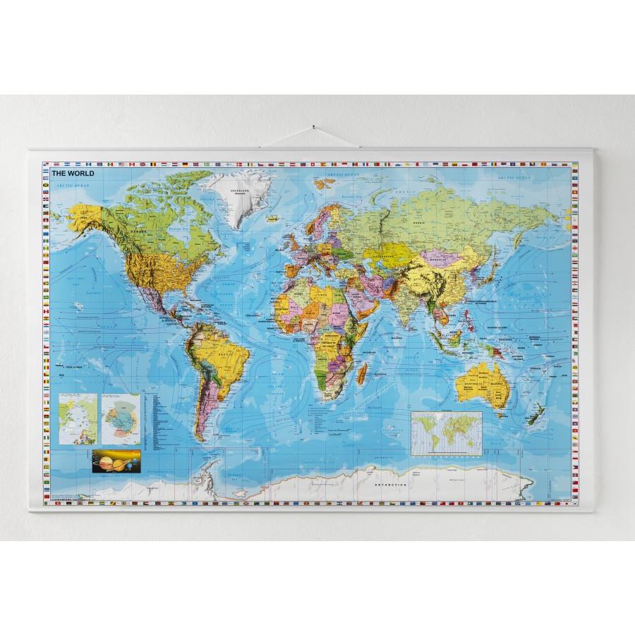 Plakat verdenskort NAGA - lamineret 1370 x 890 mm