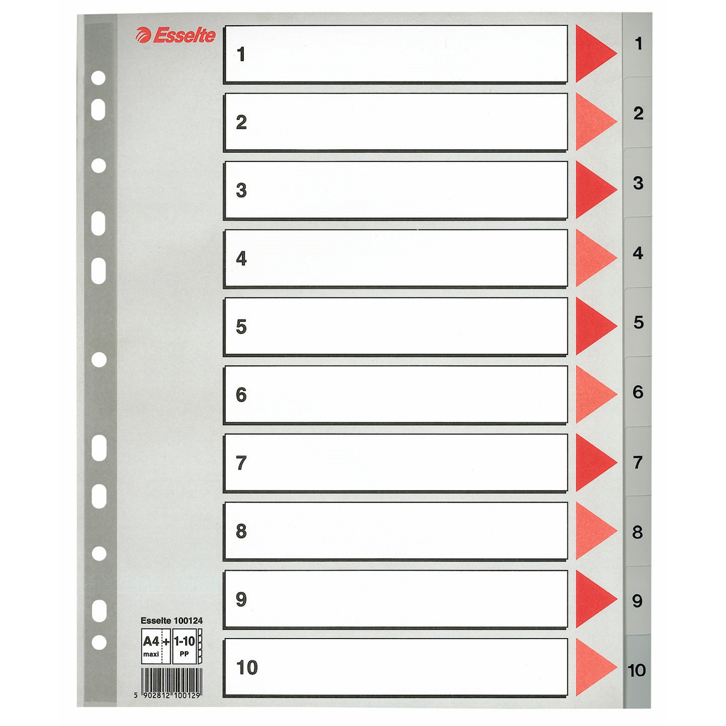 A4 maxi plastregister Esselte 1-10 - grå faner i plast med kartonforblad