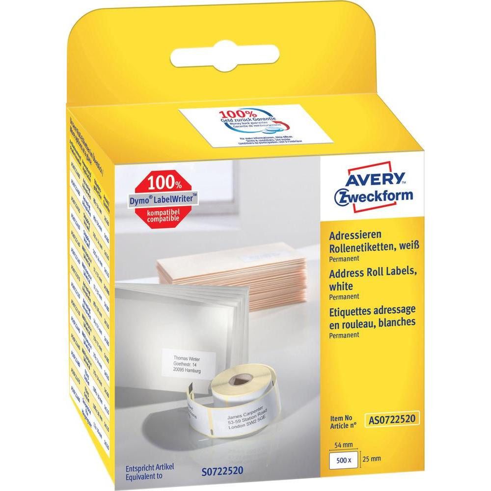 Avery Labels AS0722520 - Adresseetiketter 54 x 25 mm til Dymo Labelwriter - 500 etiketter