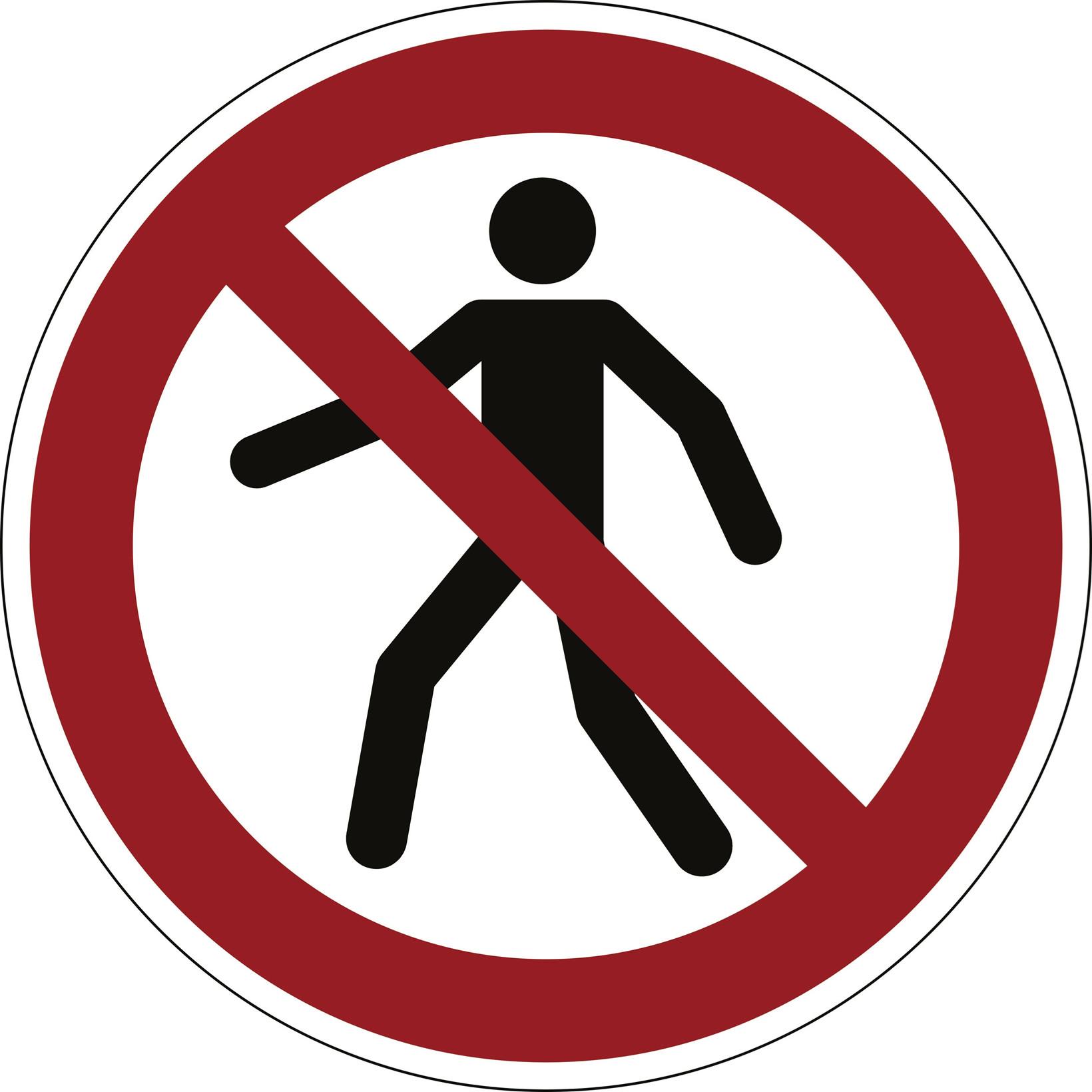 Advarselsklistermærke Forbudt for gående Ø43cm 0,4mm hvid/rød