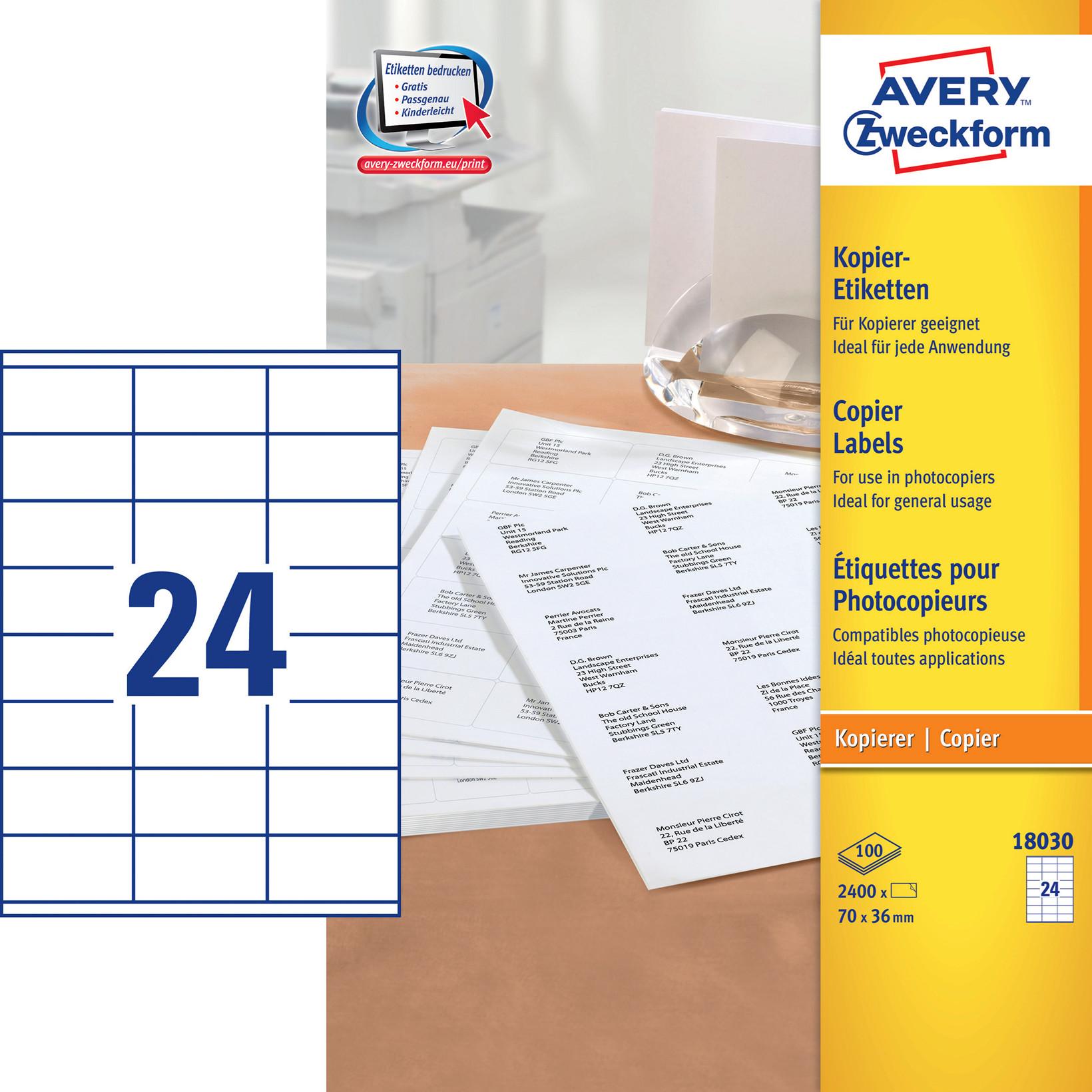 Avery 18030 - Kopietiket 24 pr. ark 36 x 70 mm - 100 ark