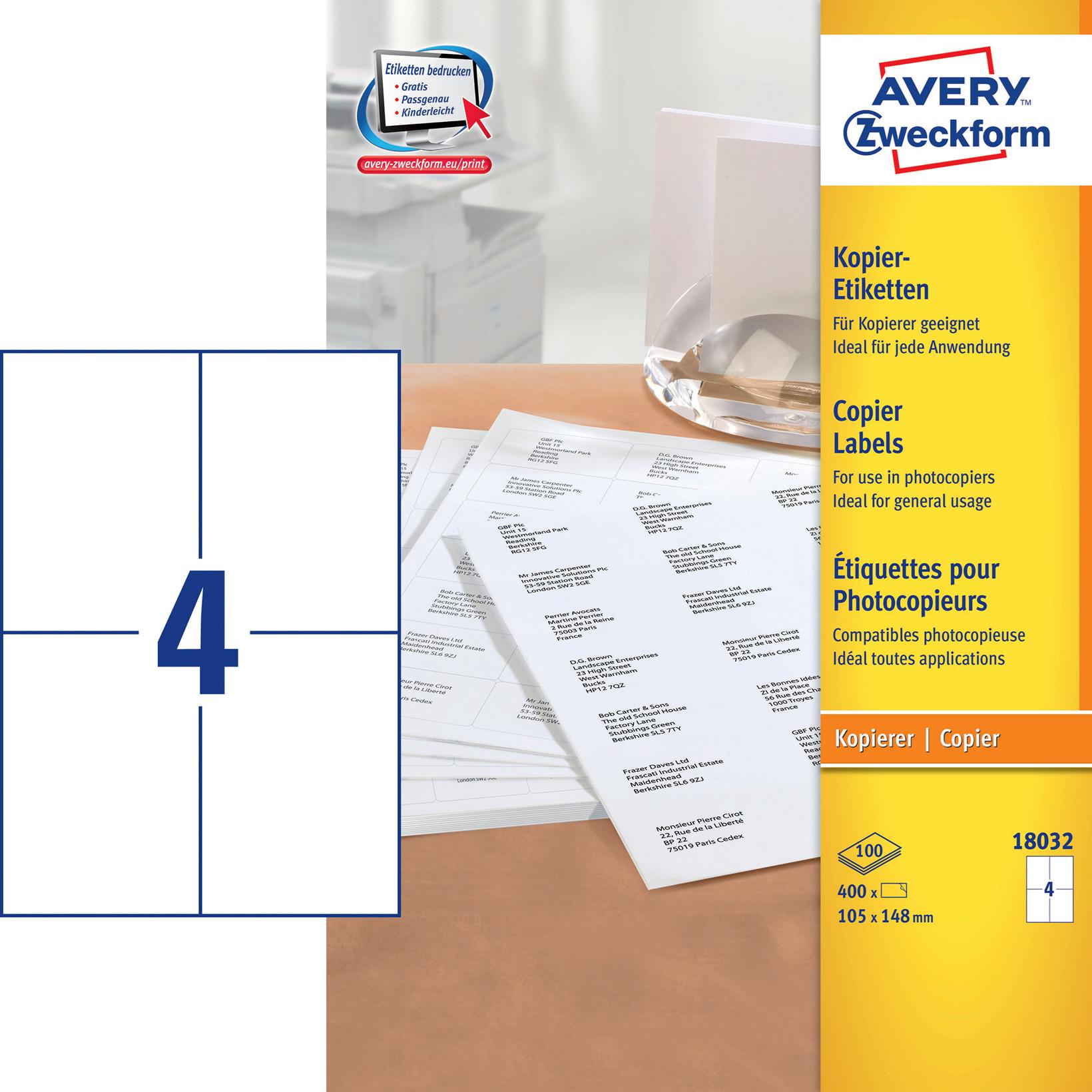 Avery 18032 - Kopietiket 4 pr. ark 105 x 148 mm - 100 ark