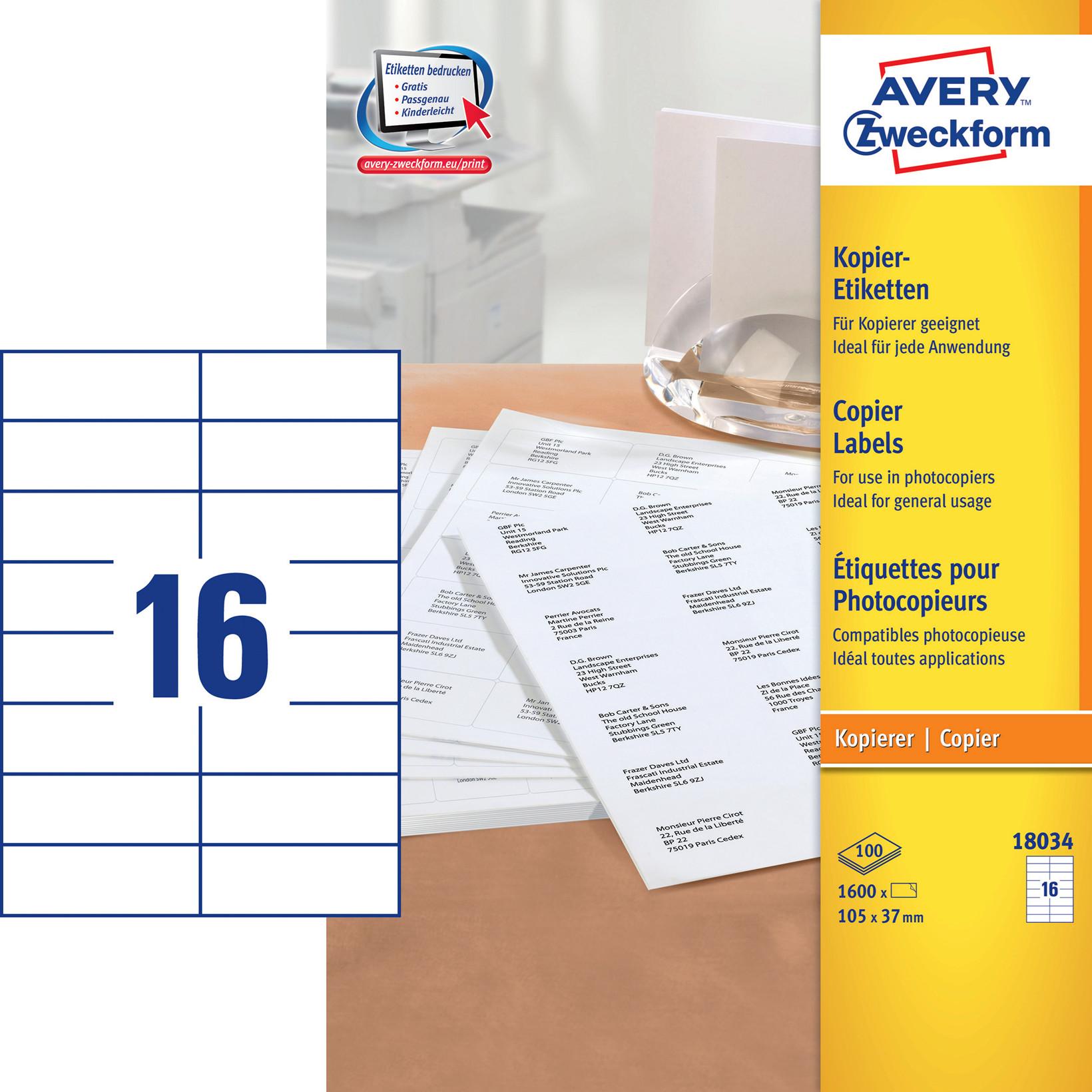 Avery 18034 - Kopietiket 16 pr. ark 37 x 105mm  - 100 ark
