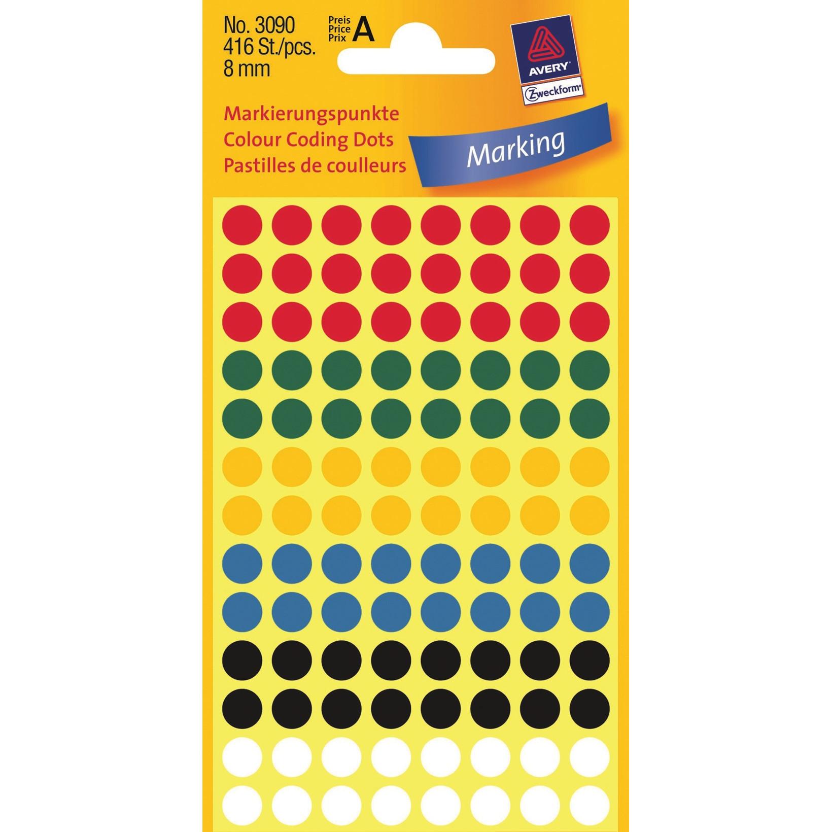 Avery 3090 - Runde etiketter i assorteret farver  Ø: 8 mm - 416 stk
