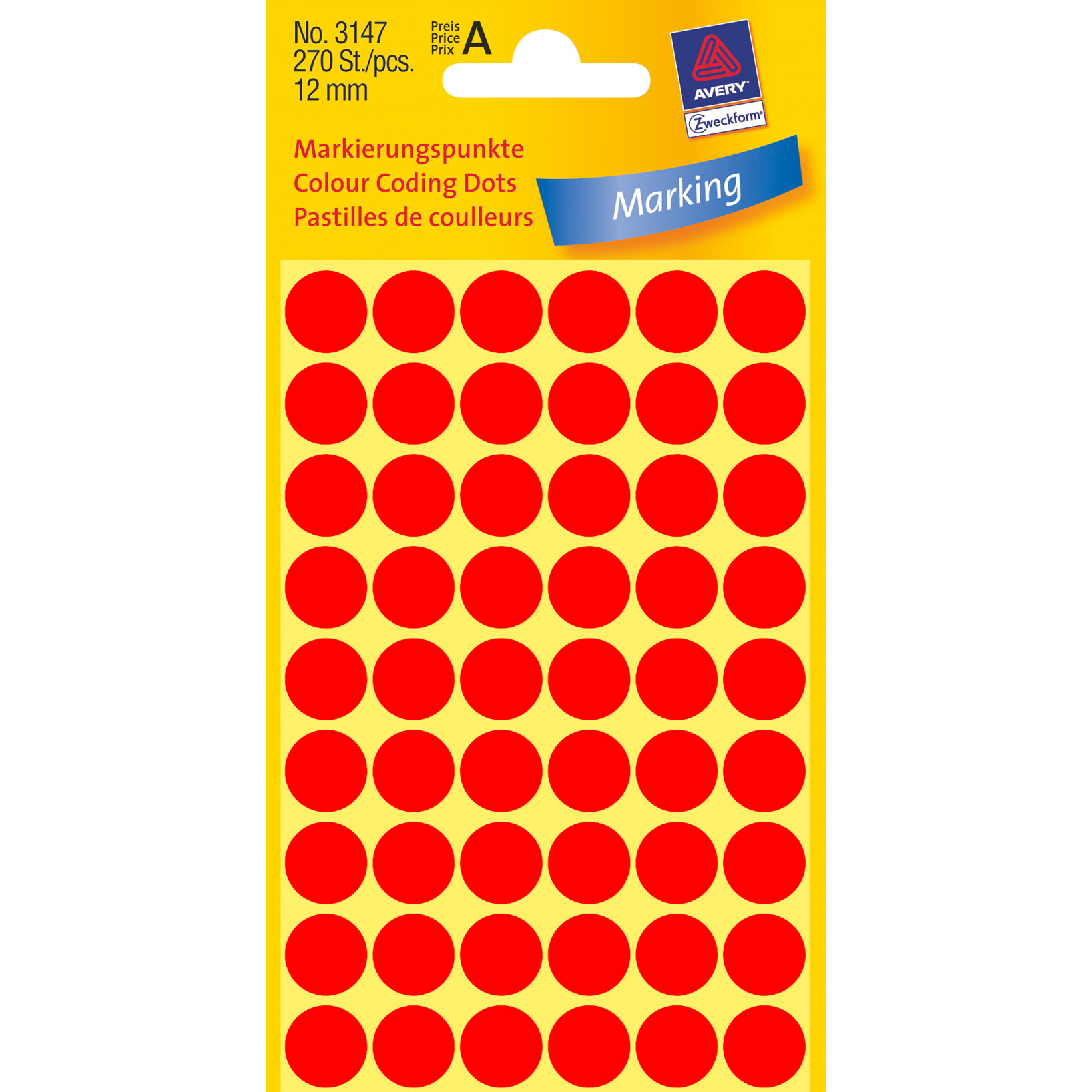 Avery 3147  - Runde Etiketter neon rød Ø: 12 mm - 270 stk