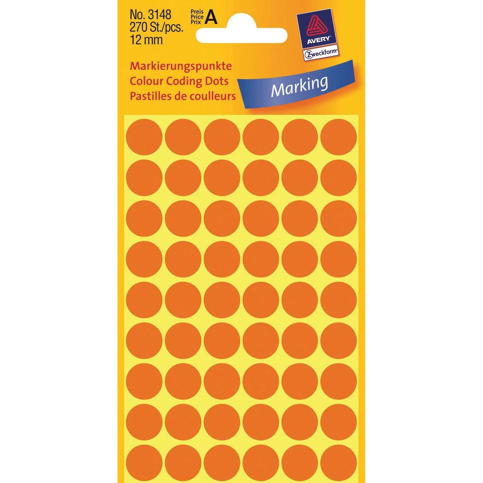 Avery 3148  - Runde labels neon orange Ø: 12 mm - 270 stk