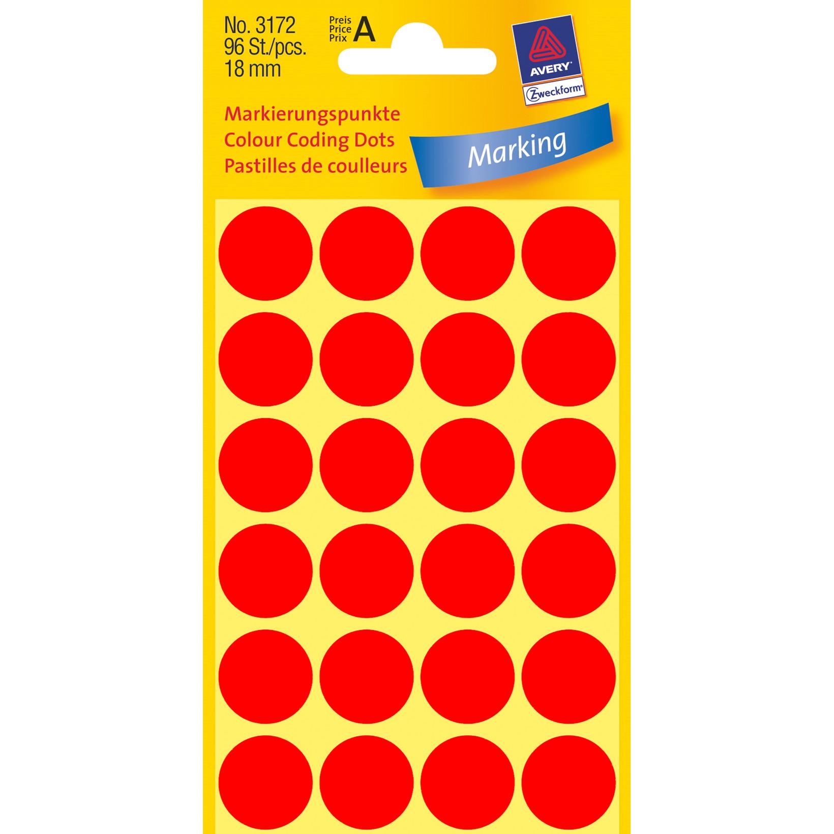 Avery 3172  - Runde etiketter neon rød Ø: 18 mm - 96 stk