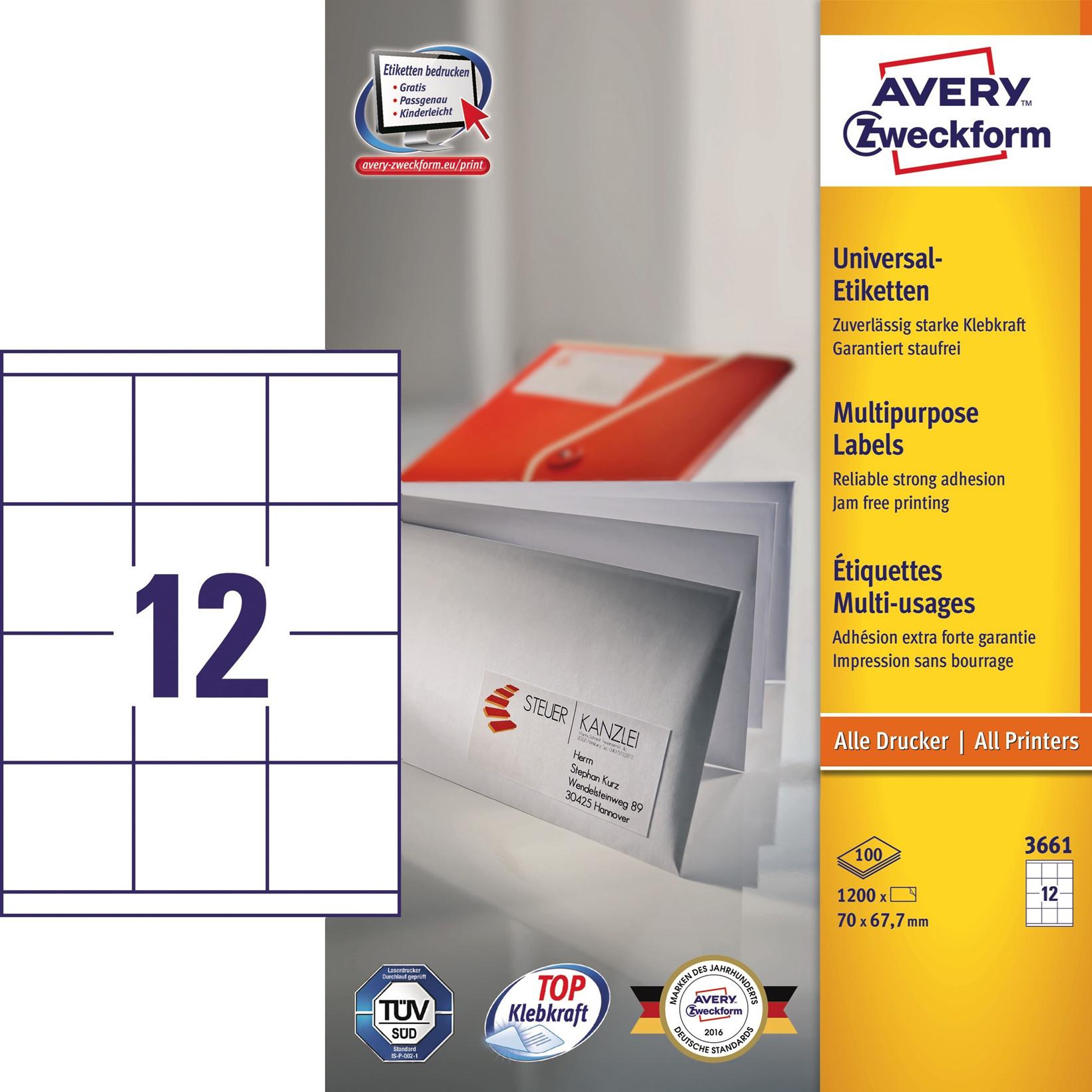 Avery 3661 - Kopietiket 12 pr. ark 67,70 x 70  mm - 100 ark