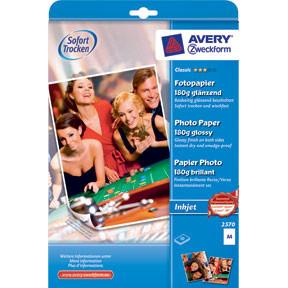 Fotopapir A4 - Avery 180g glossy inkjet - 10 ark