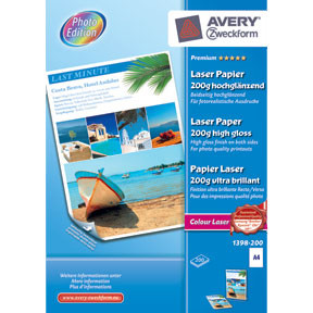 Fotopapir A4 - Avery 200g glossy laser - 200 ark