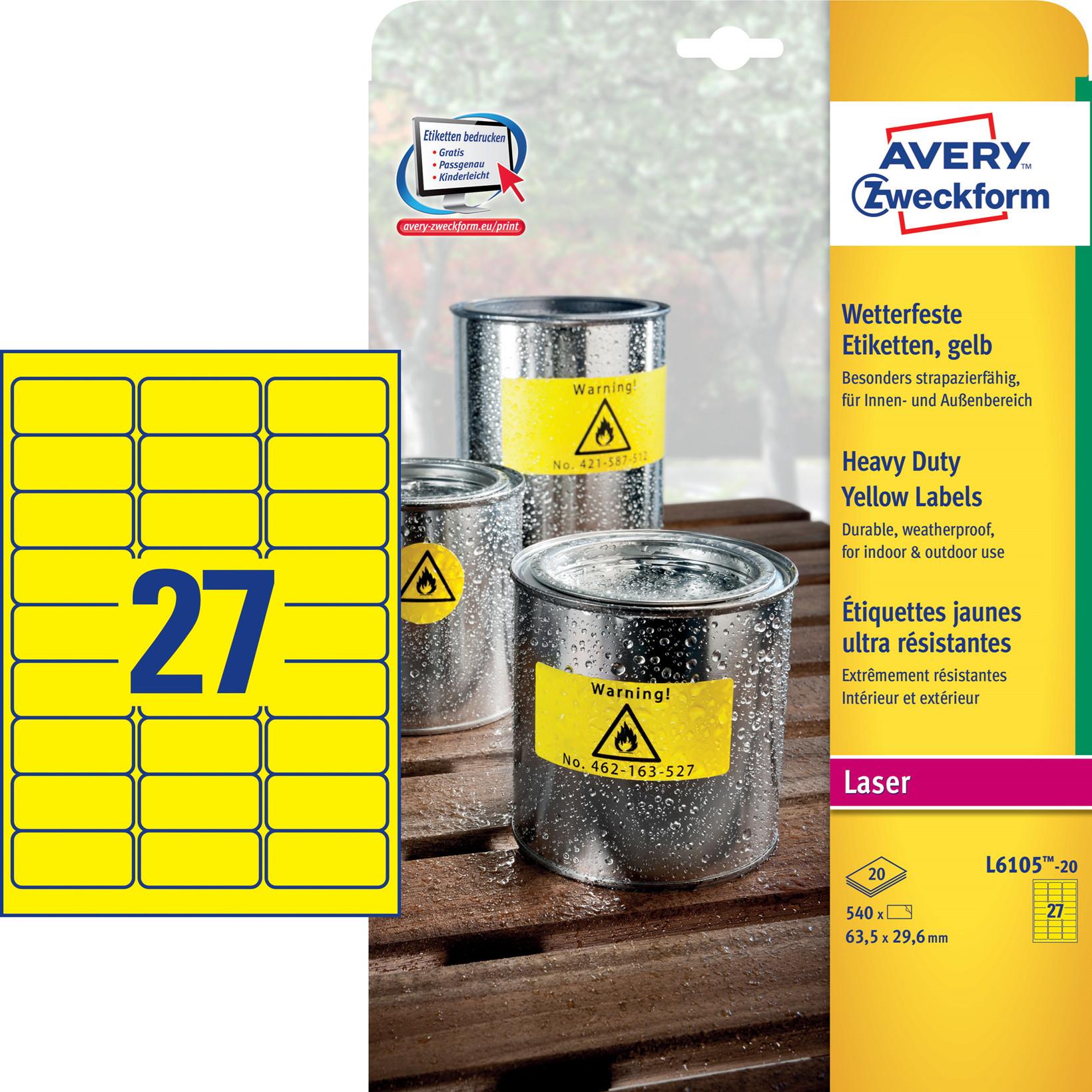 Avery L6105-20 - Laser etiket stærk gul 27 pr. ark 63,5 x 29,6 mm - 20 ark