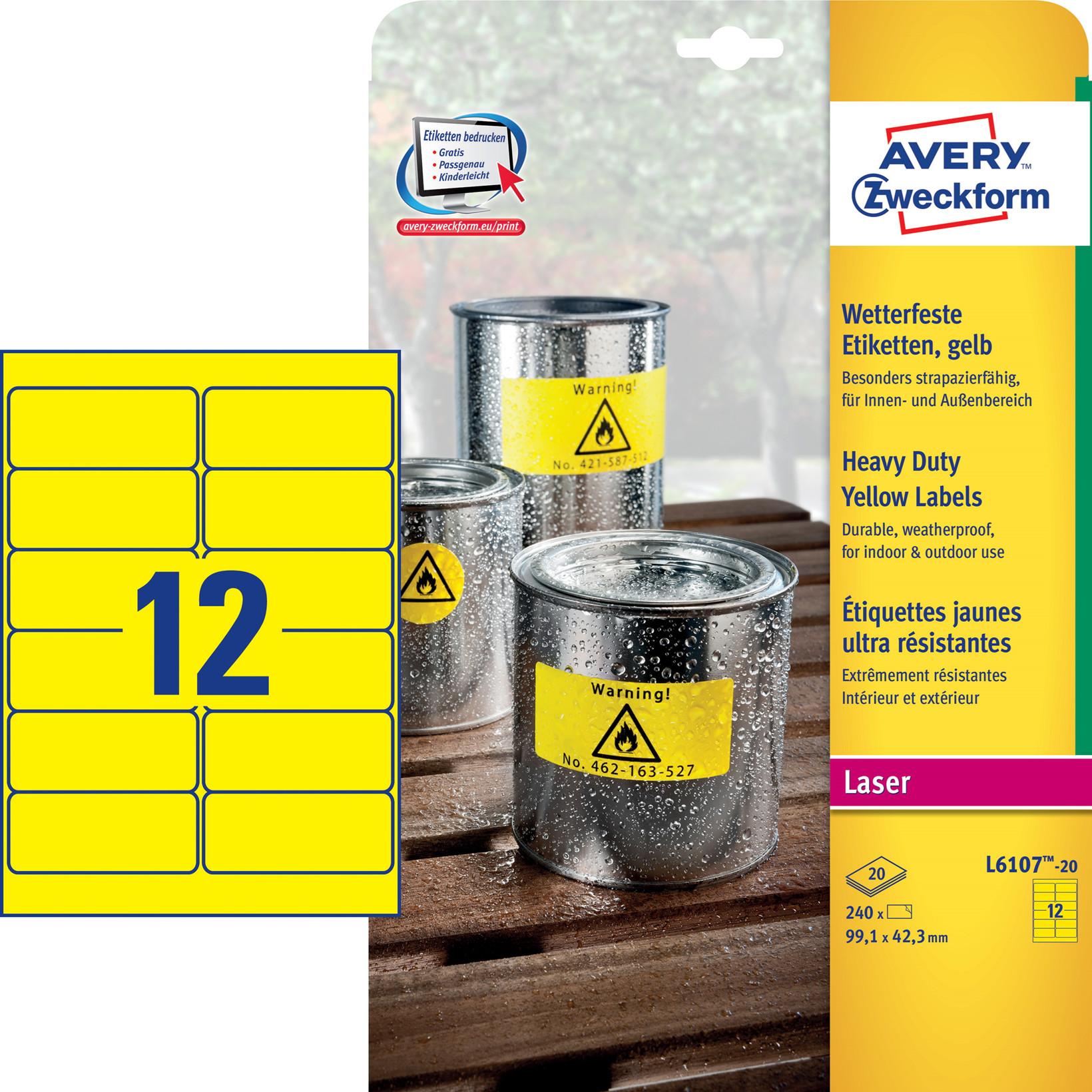 Avery L6107-20 - Laserlabel stærk gul 12 pr. ark 99,1 x 42,3 mm - 20 ark