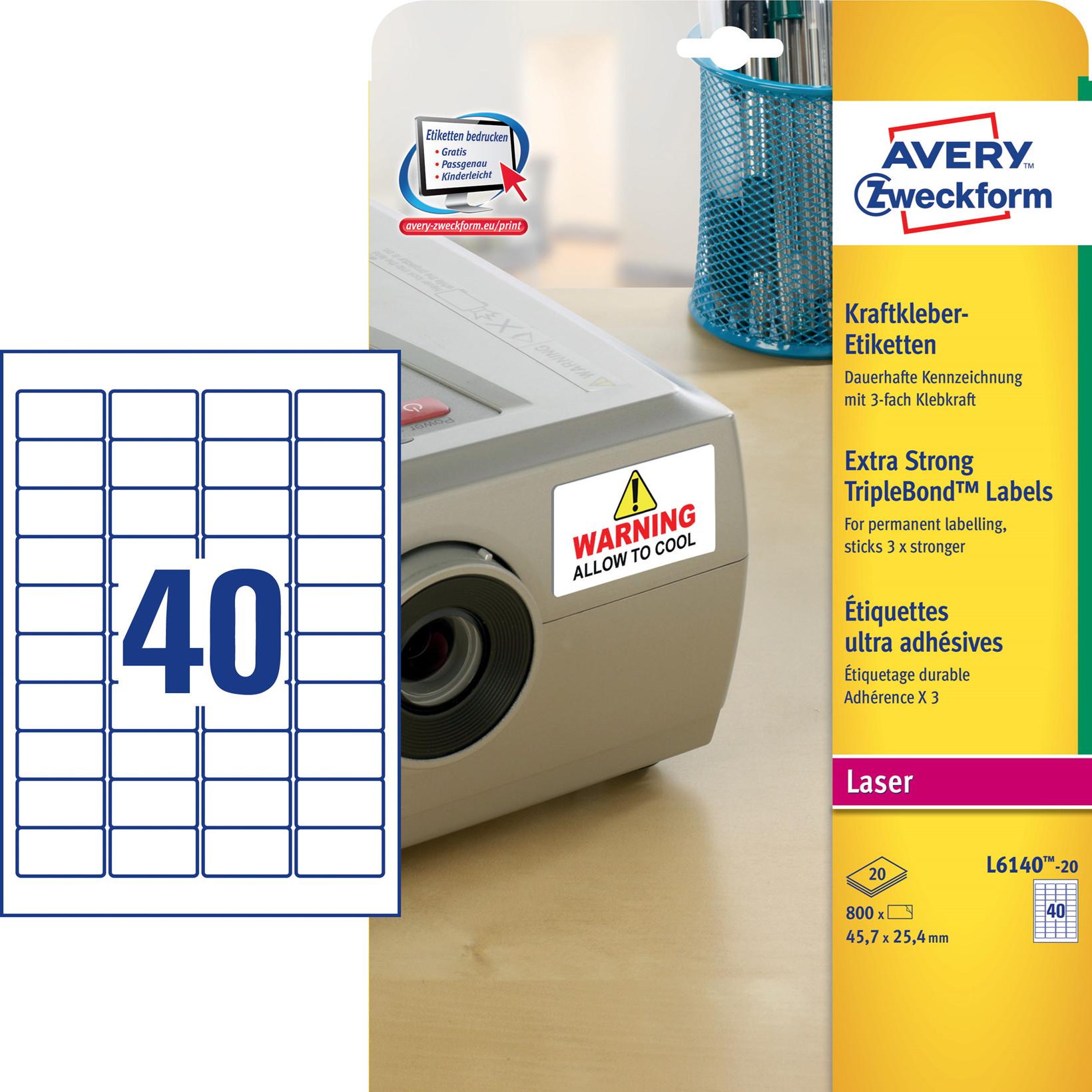 Avery L6140-20 - Laseretiket ekstra klæb hvid 40 pr. ark 45,7 x 25,4 mm - 20 ark