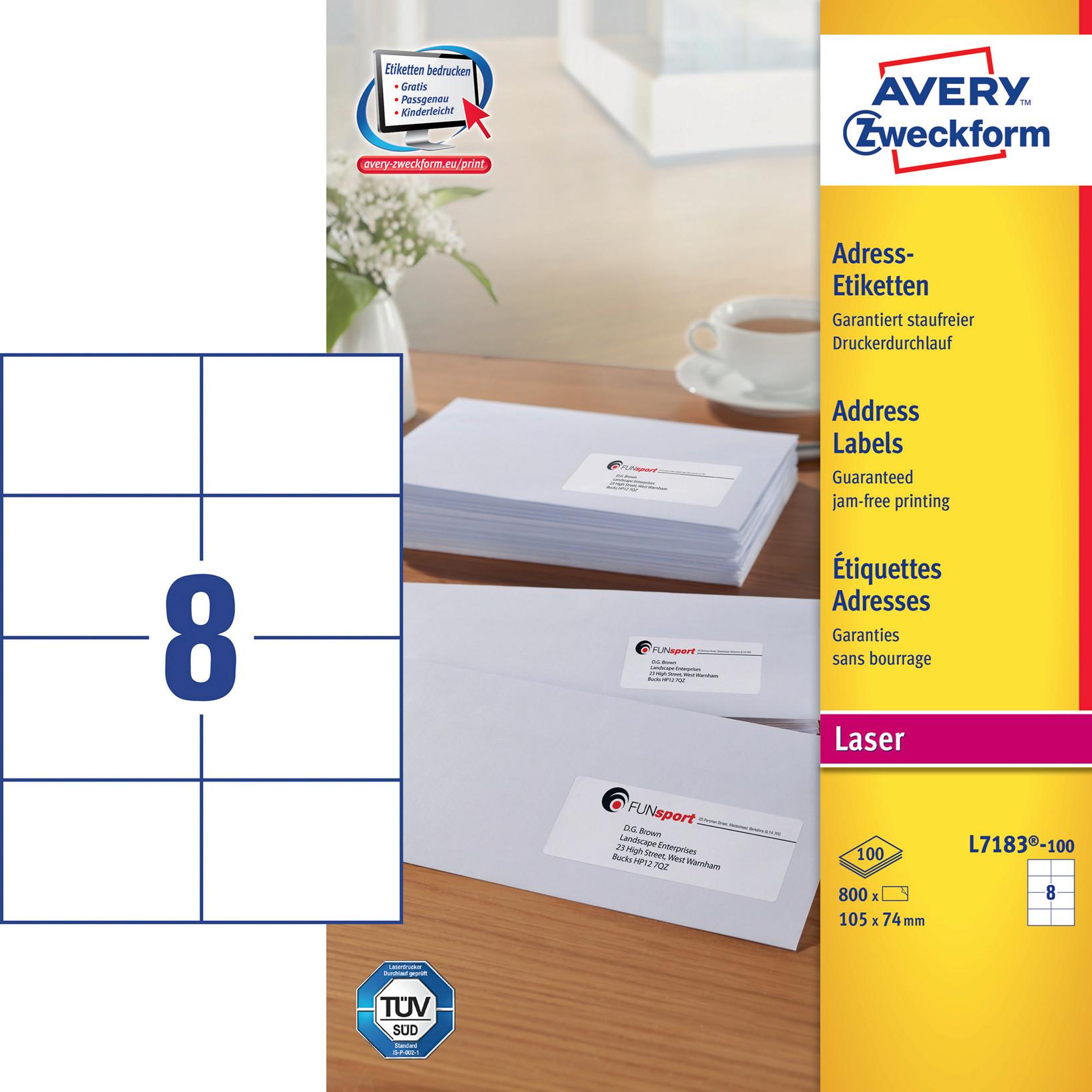Avery L7183  -  Laser etiket 8 pr. ark 105 x 74 mm - 100 ark
