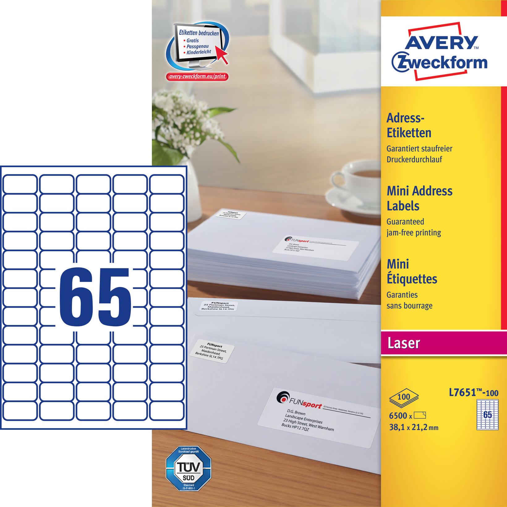 Avery L7651-H - Laser etiketter 65 pr. ark 38,1 x 21,2 mm - 100 ark