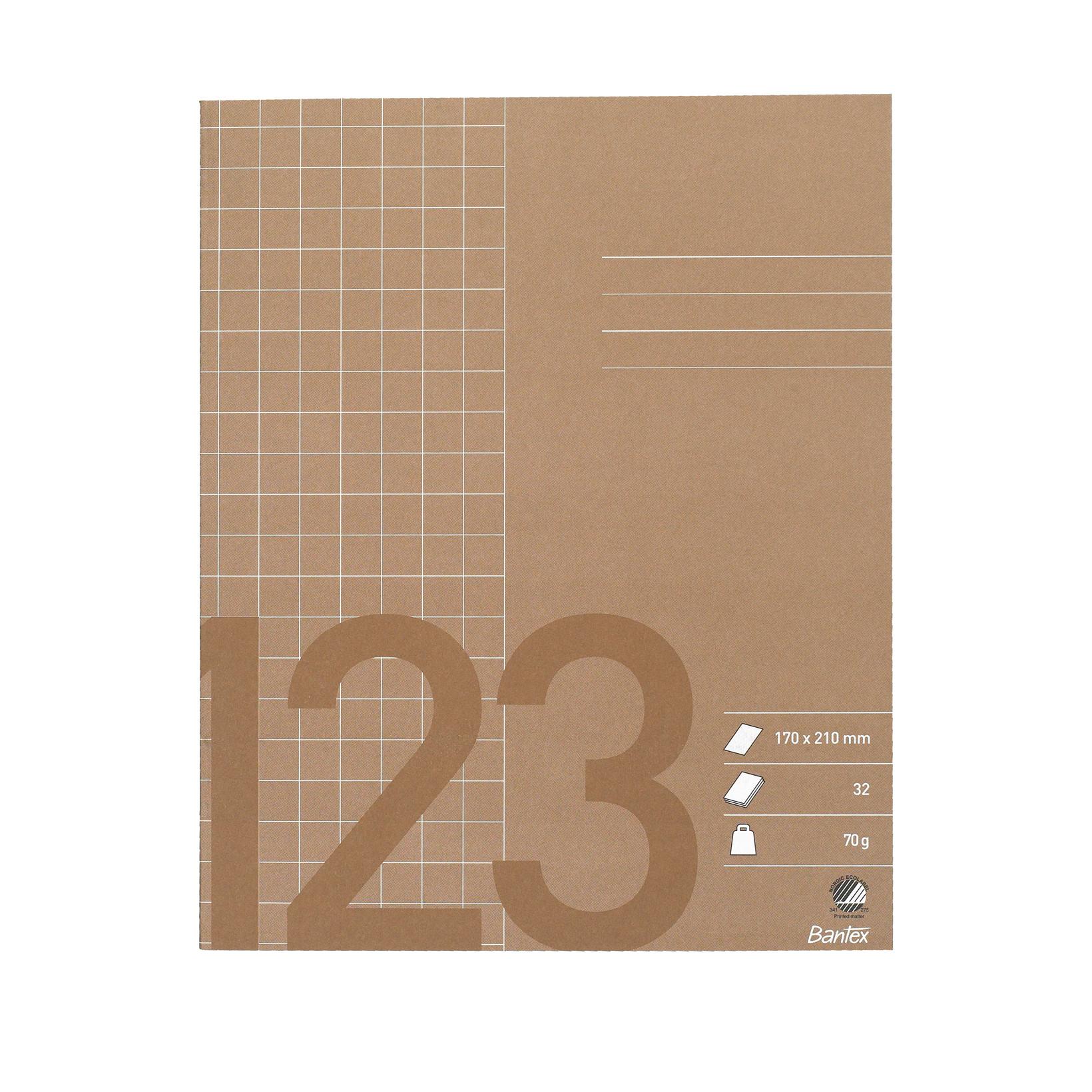 Bantex skolehæfte 17 x 21 cm - Brun kvadreret 10 x 10 mm - 32 sider