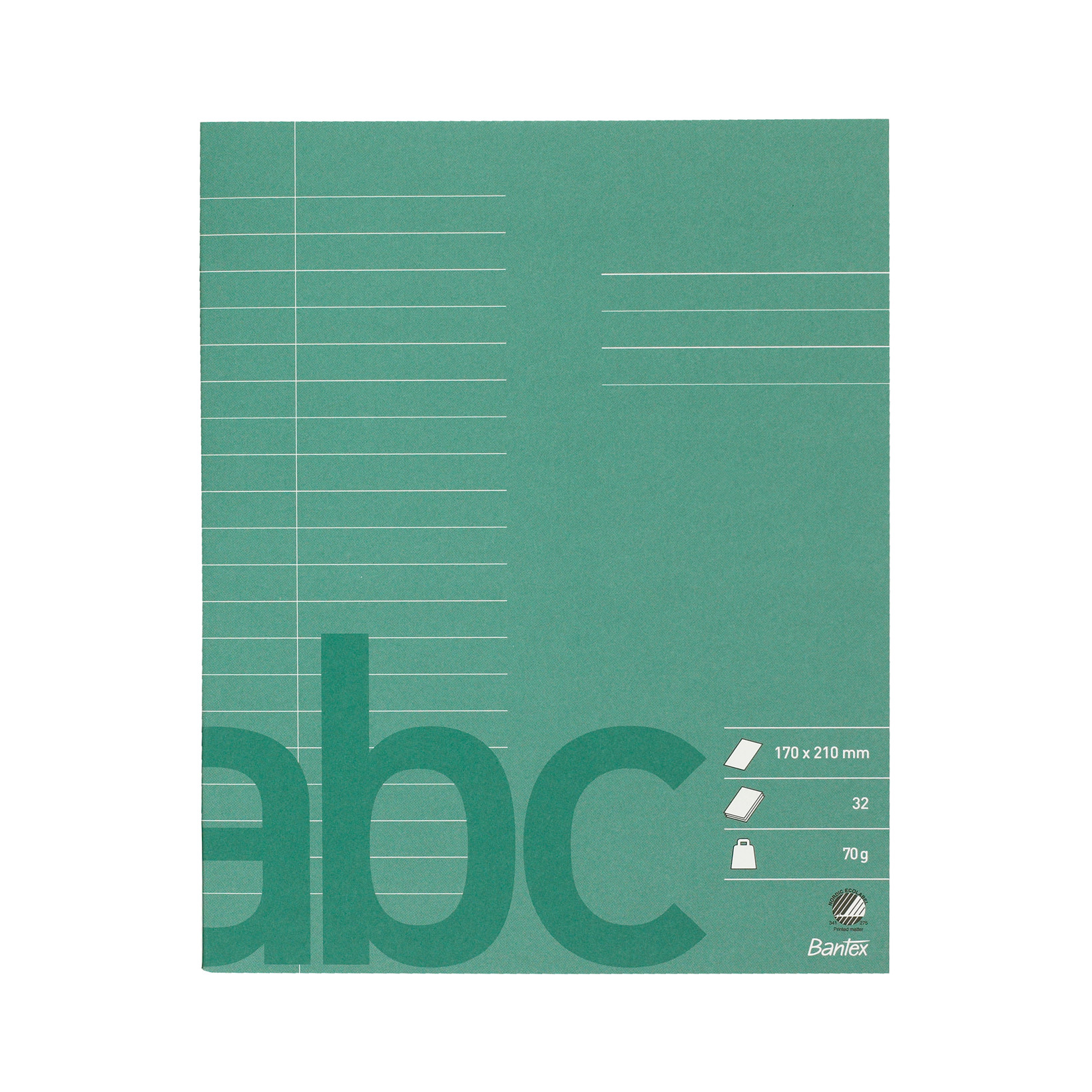 Bantex Skolehæfte 17 x 21 cm - Mørk grøn med 20 linjer 9 mm - 32 sider