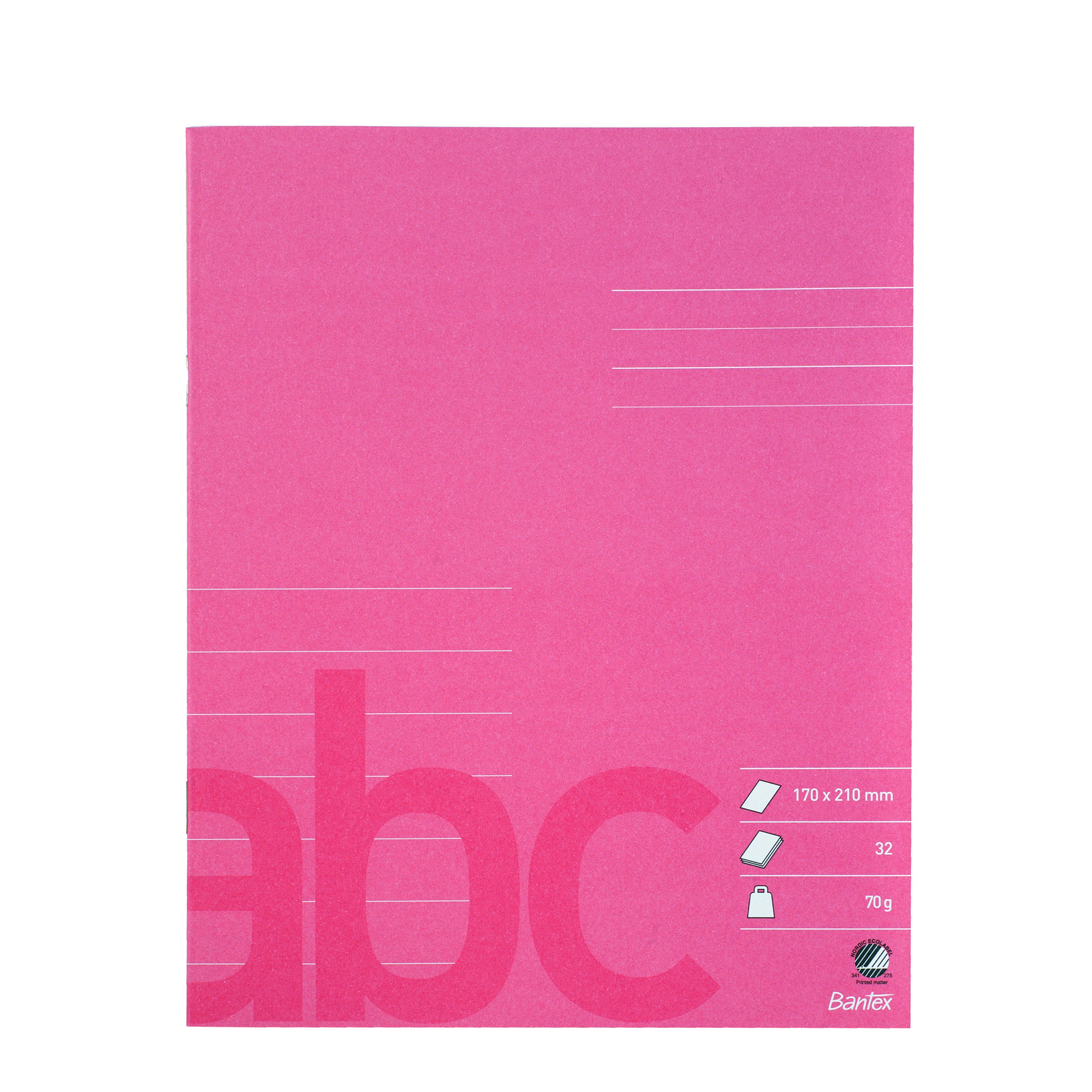 Bantex Skolehæfte 17 x 21 cm - Pink linjeret med 7 linjer - 32 sider