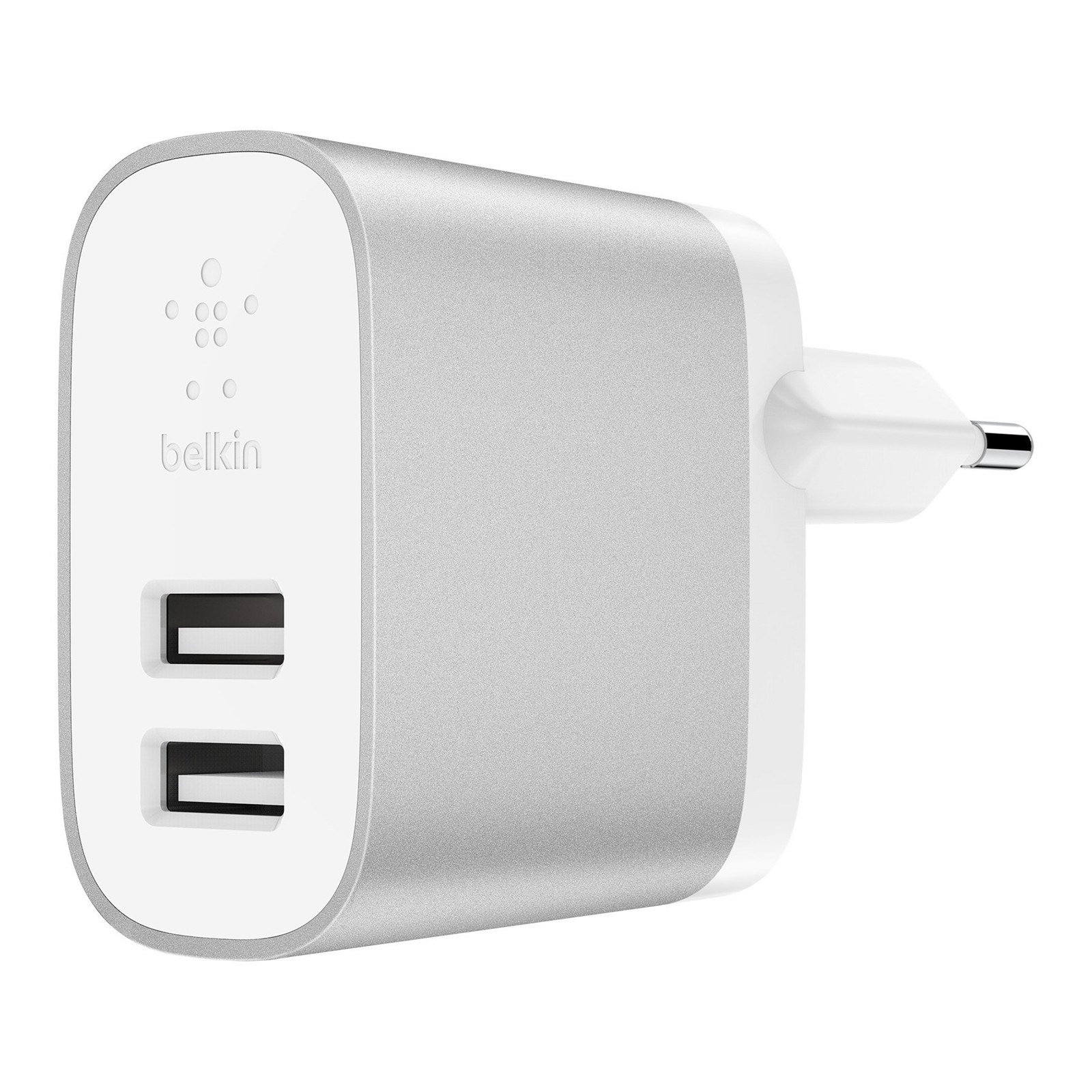 Belkin 4.8A Dual USB-A Home Charger, Silver