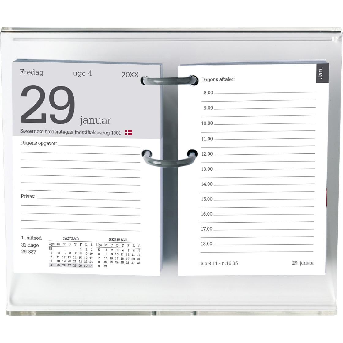 Blokkalender Mayland REFILL med huller 2019 8 x 11,5 cm eksklusiv stativ - 19 1400 00