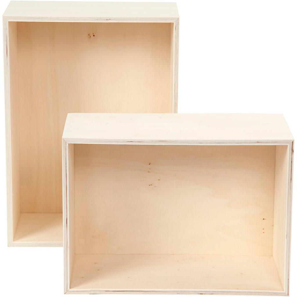 Bogkasser rektangel højde 27 + 31 cm bredde 19,5 + 22,5 cm krydsfiner dybde 12,5 cm   2 stk.