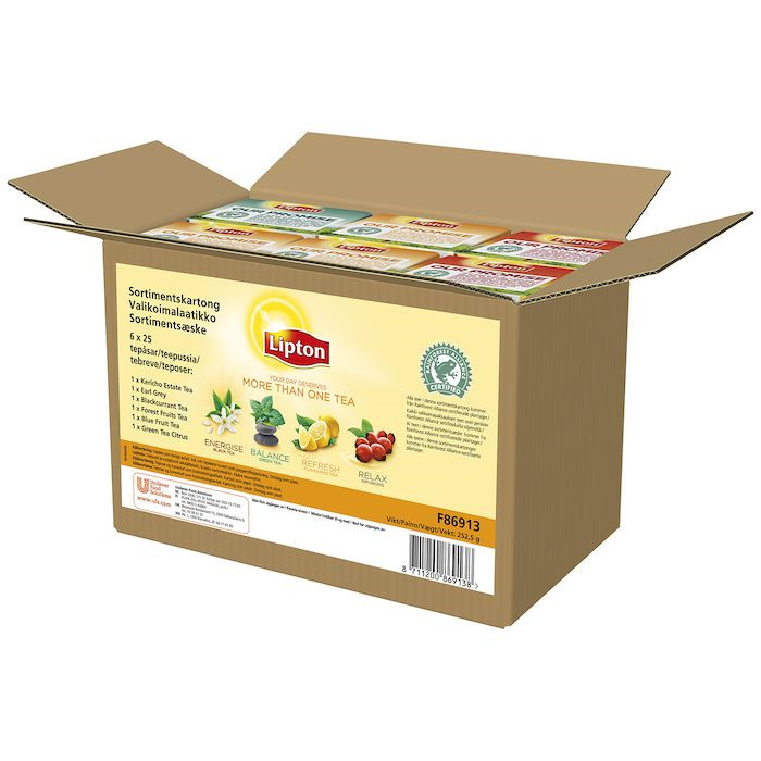 Brevte, Lipton, Rainforest Alliance, assorteret kasse, 25 stk