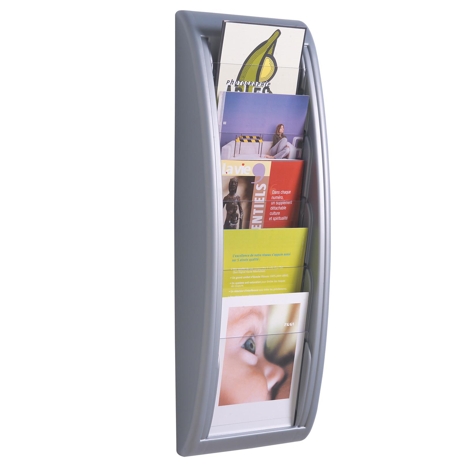 Brochureholder A4 væg sølv 5 rum 4063.35