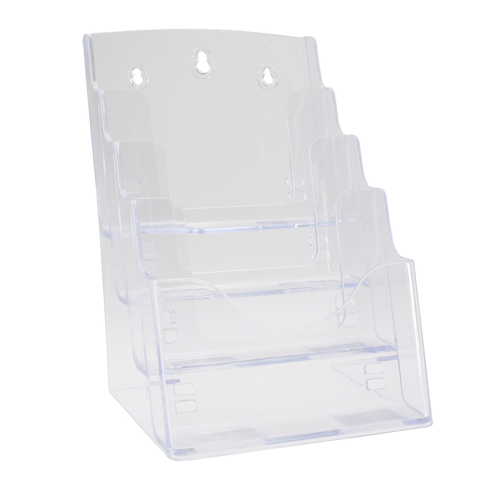 Brochureholder BNT A5 klar 4 rum bord/væg B:16,6 H:25,2 D 1,6 cm