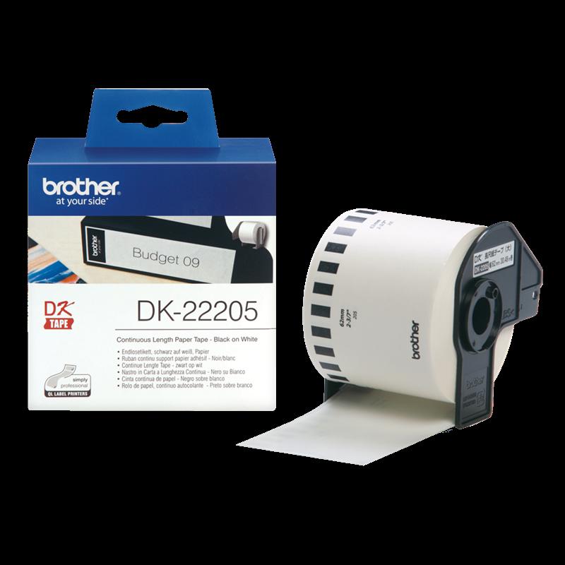 Brother DK22205 - label 62 mm sort på hvid papirtape