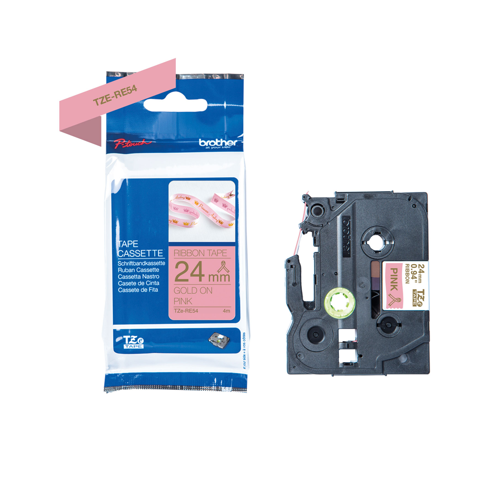 Brother TZe-RE54 printer guld tekst på pink 24mm satinbånd